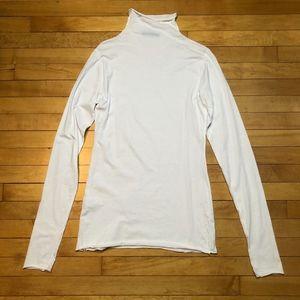 Velvet Mock Neck Long-sleeved Cotton Tunic Tee